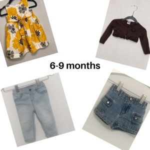 LOT of girls clothing. SIZES 6-9 months